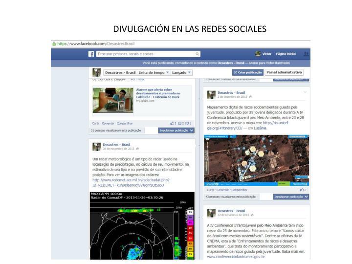 DIVULGACIÓN EN LAS REDES SOCIALES