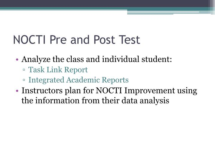 NOCTI Pre and Post Test