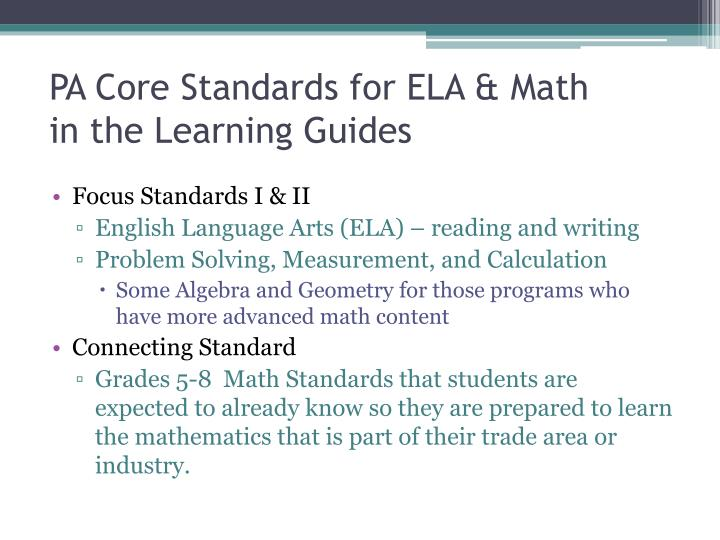 PA Core Standards for