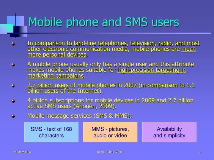 Mobile phone and SMS users