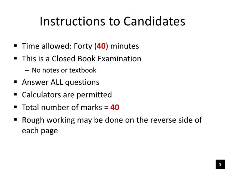 Instructions to candidates