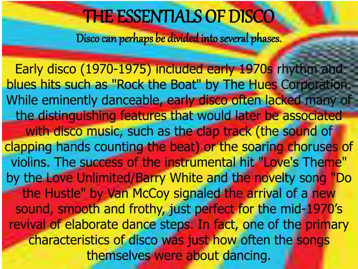 THE ESSENTIALS OF DISCO