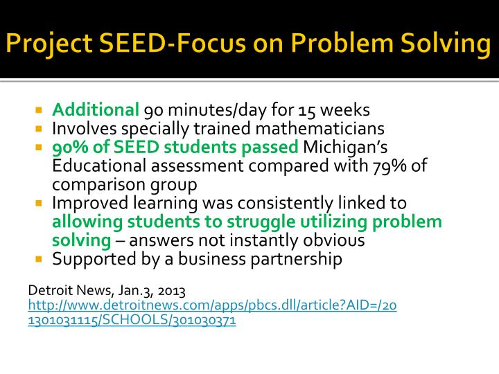 Project SEED-Focus on Problem Solving