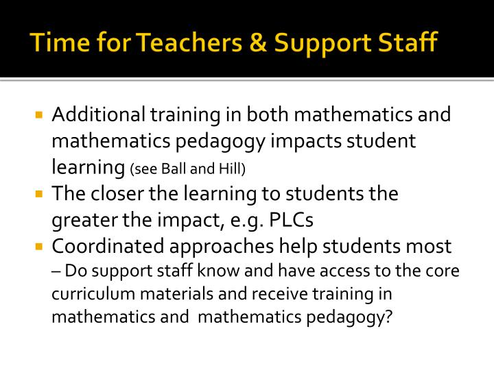 Time for Teachers & Support Staff