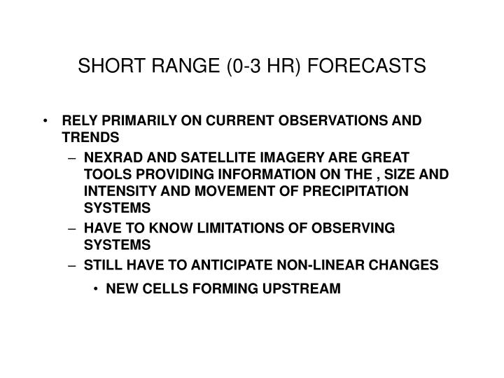 SHORT RANGE (0-3 HR) FORECASTS