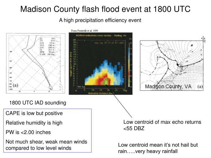 Madison County flash flood event at 1800 UTC