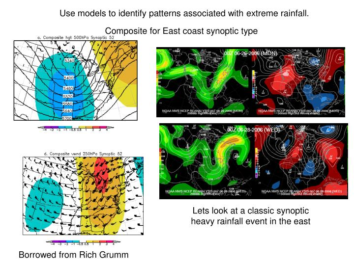 Use models to identify patterns associated with extreme rainfall.