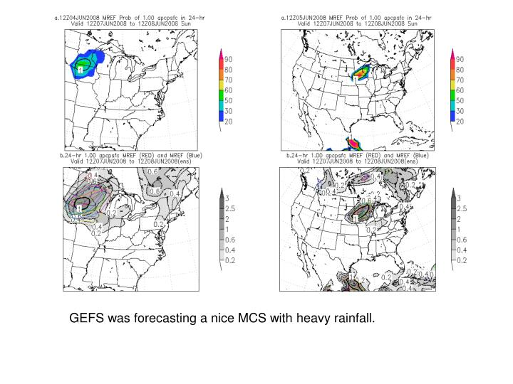 GEFS was forecasting a nice MCS with heavy rainfall.
