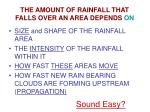 the amount of rainfall that falls over an area depends on