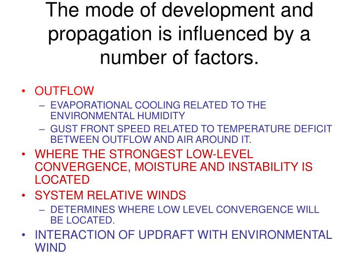 The mode of development and propagation is influenced by a number of factors.