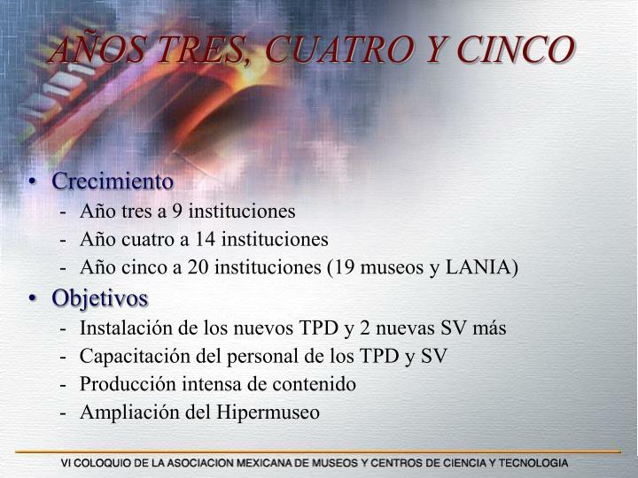 AÑOS TRES, CUATRO Y CINCO