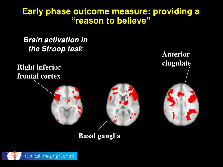 "Early phase outcome measure: providing a ""reason to believe"""