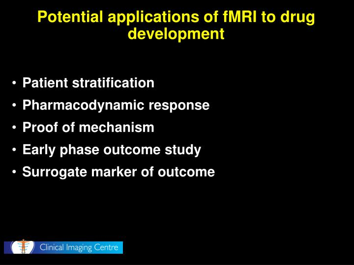 Potential applications of fMRI to drug development