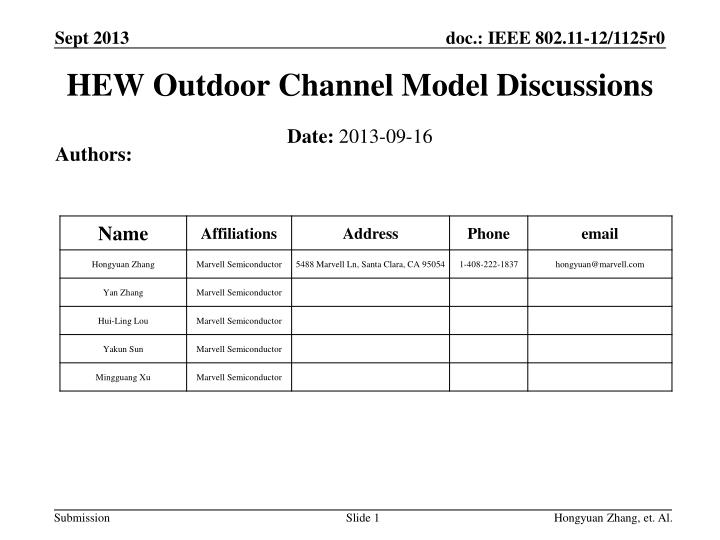 HEW Outdoor Channel Model Discussions