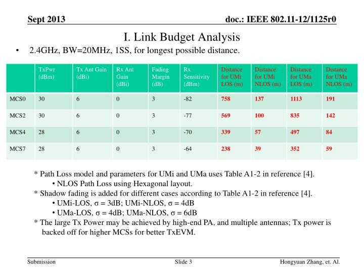 I. Link Budget Analysis