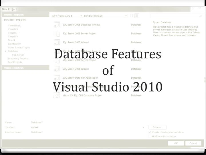 Database features of visual studio 2010