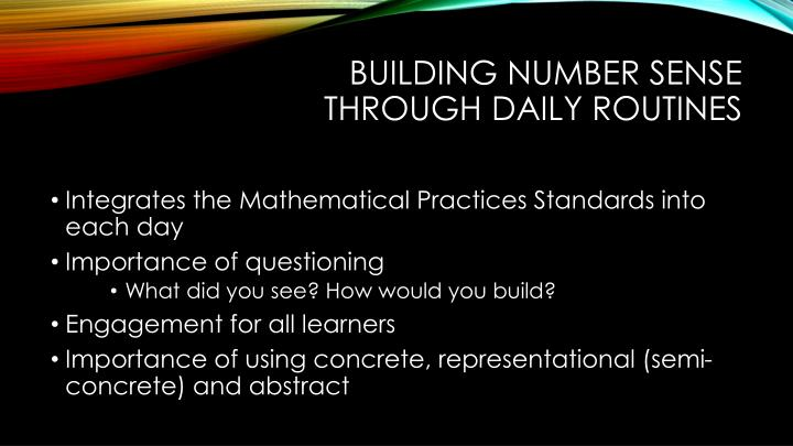 Building number sense through Daily Routines