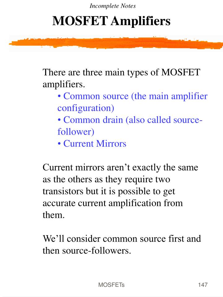 MOSFET Amplifiers