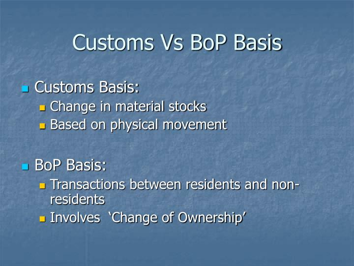Customs Vs BoP Basis