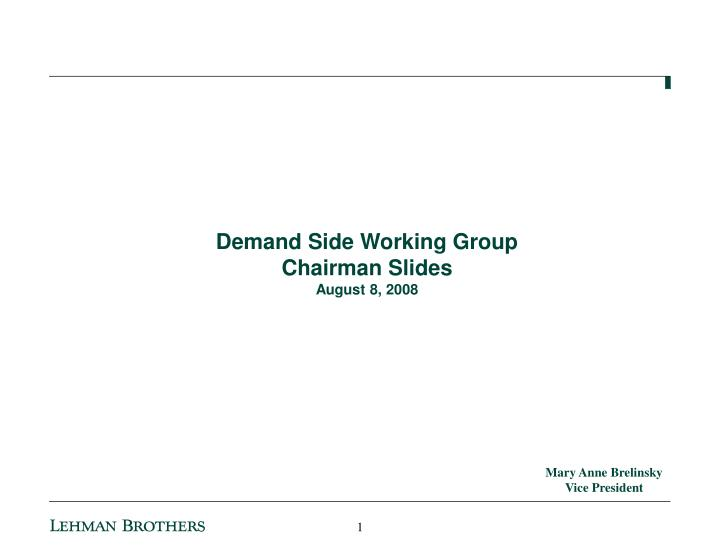 Demand Side Working Group