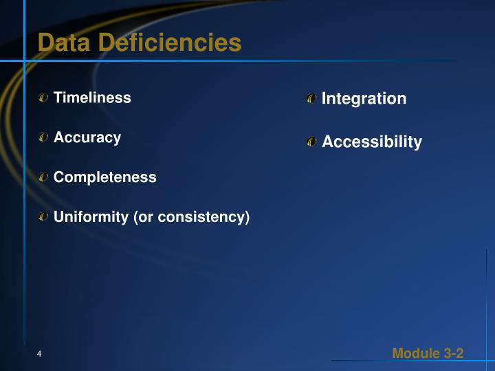 Data Deficiencies