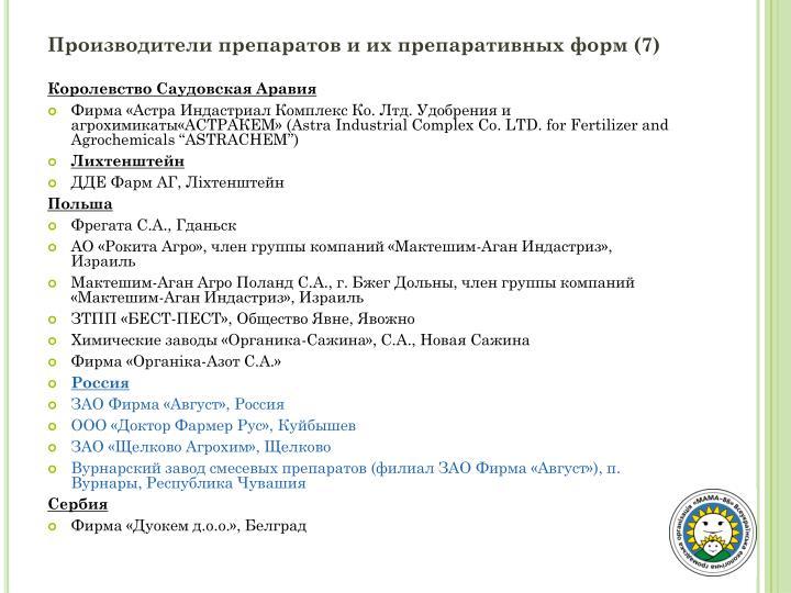 Производители препаратов и их препаративных форм (7)