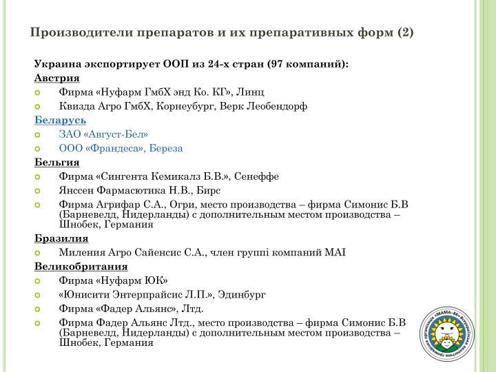 Производители препаратов и их препаративных форм (2)
