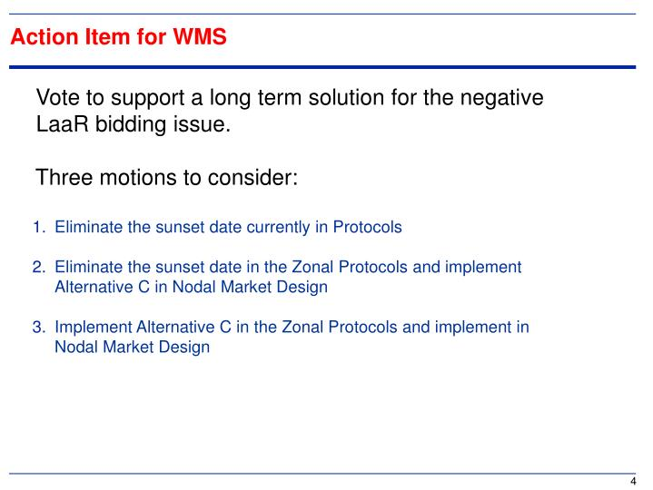 Action Item for WMS