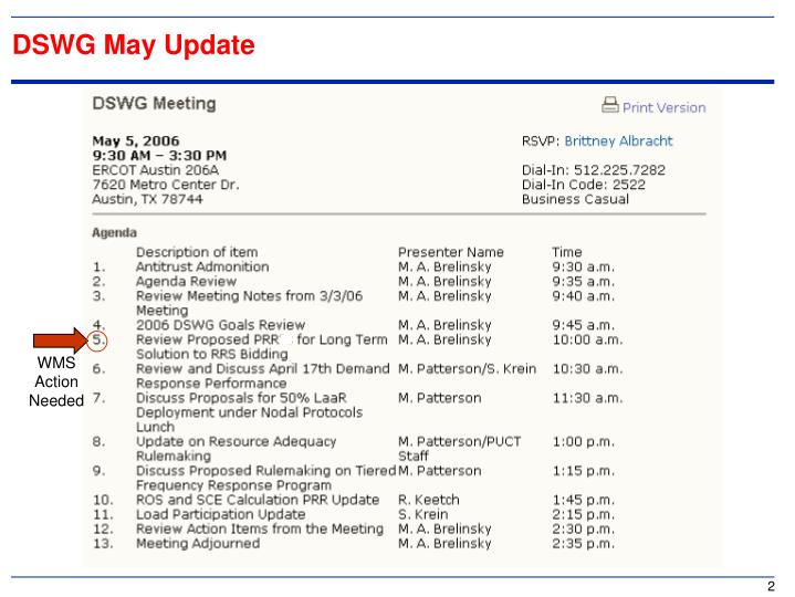 DSWG May Update