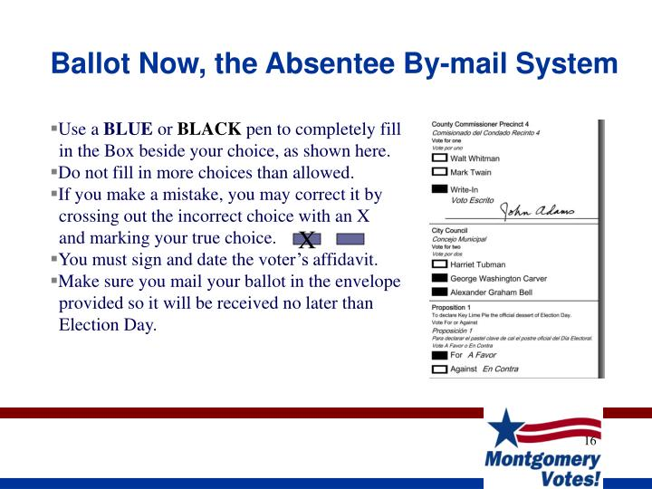 Ballot Now, the Absentee By-mail System