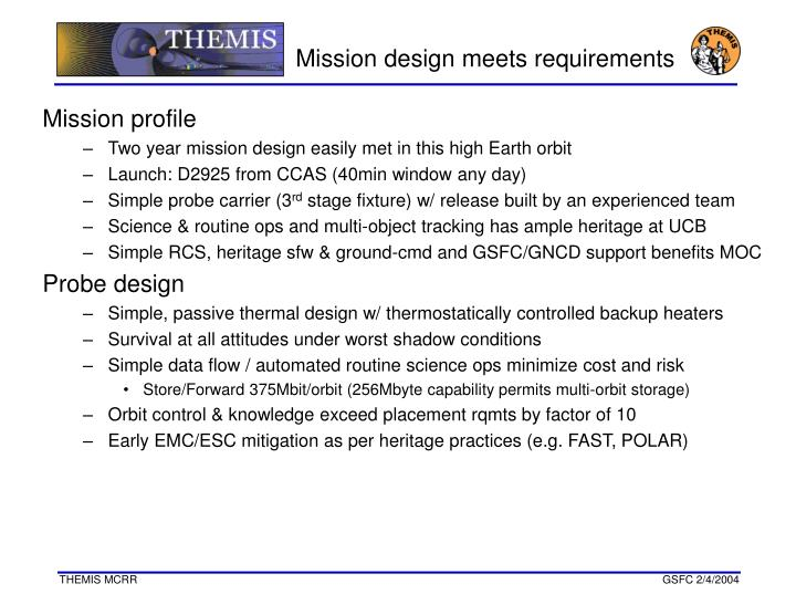 Mission design meets requirements