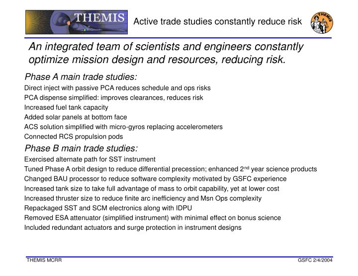 Active trade studies constantly reduce risk