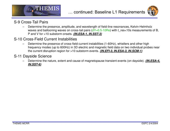 … continued: Baseline L1 Requirements