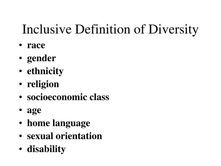 Inclusive Definition of Diversity