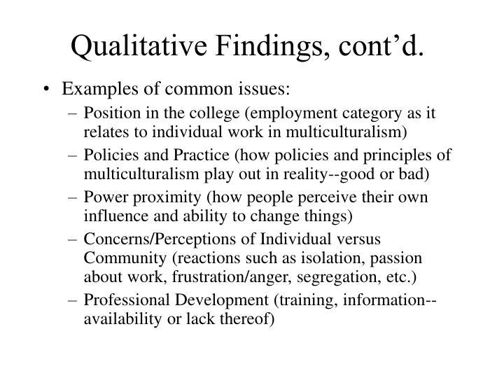 Qualitative Findings, cont'd.