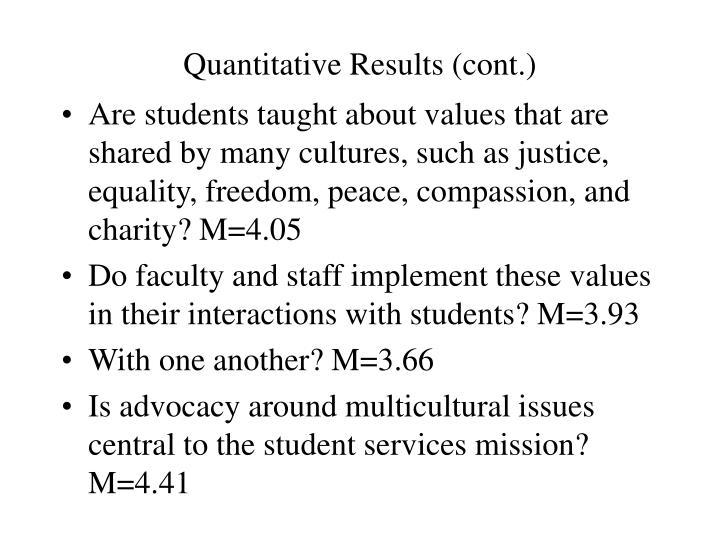 Quantitative Results (cont.)