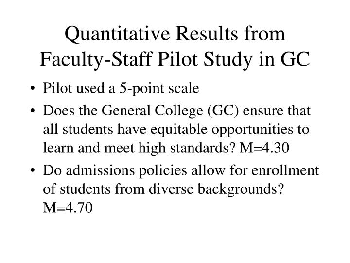 Quantitative Results from Faculty-Staff Pilot Study in GC