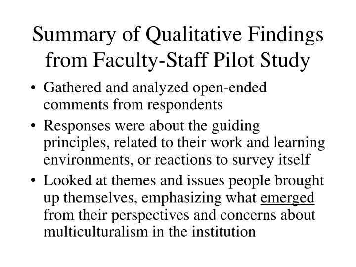 Summary of Qualitative Findings