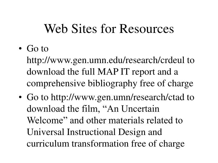 Web Sites for Resources