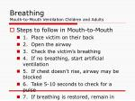 breathing mouth to mouth ventilation children and adults