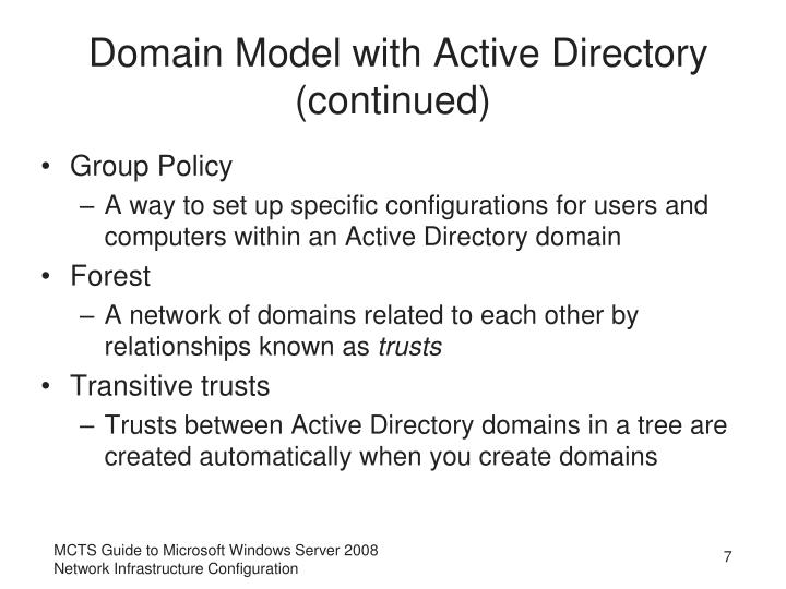Domain Model with Active Directory (continued)