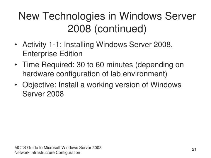 New Technologies in Windows Server 2008 (continued)