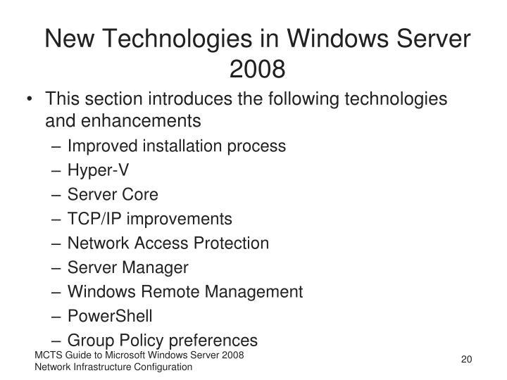 New Technologies in Windows Server 2008