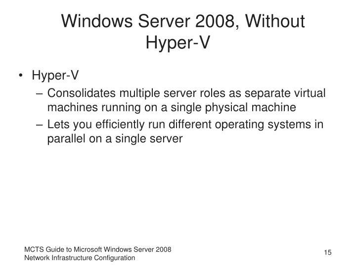Windows Server 2008, Without Hyper-V