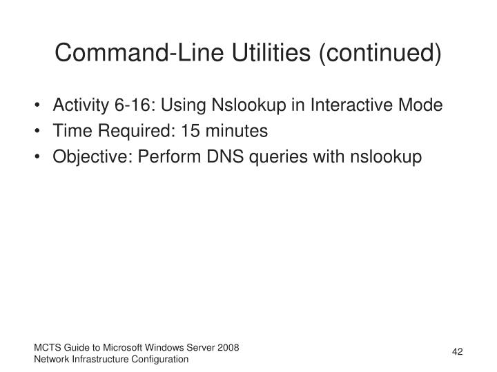 Command-Line Utilities (continued)