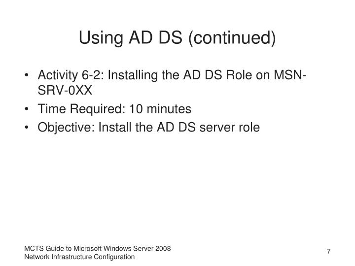 Using AD DS (continued)