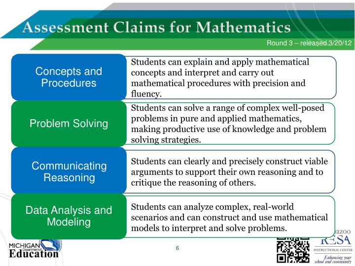 Students can explain and apply mathematical concepts and interpret and carry out mathematical procedures with precision and fluency.