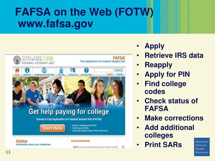 FAFSA on the Web (FOTW)