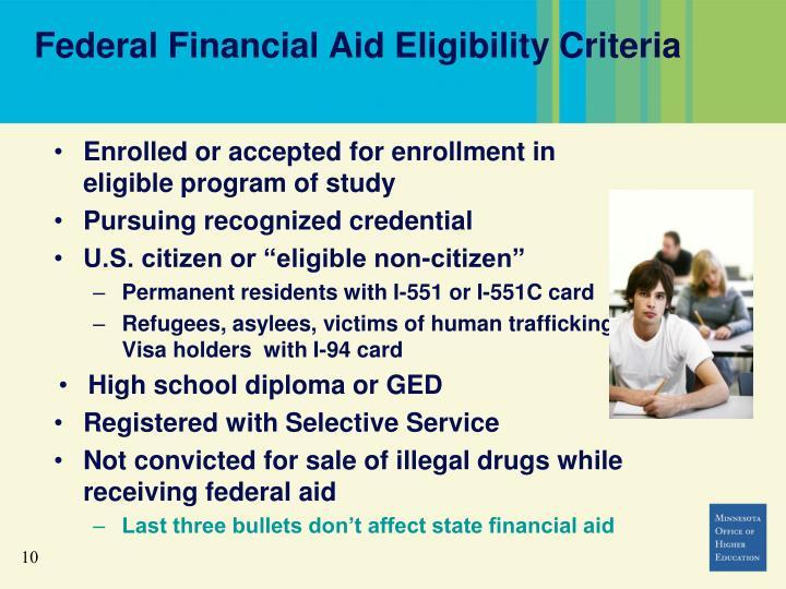 Federal Financial Aid Eligibility Criteria