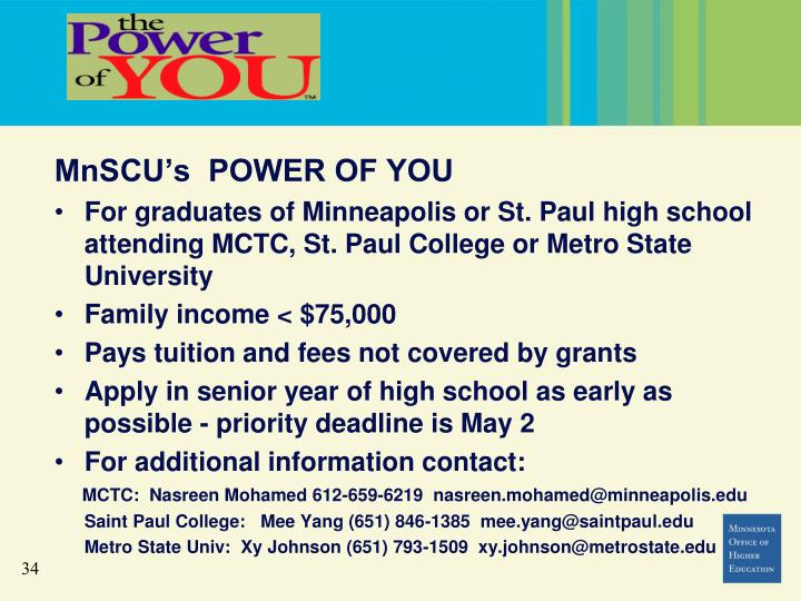 MnSCU's  POWER OF YOU